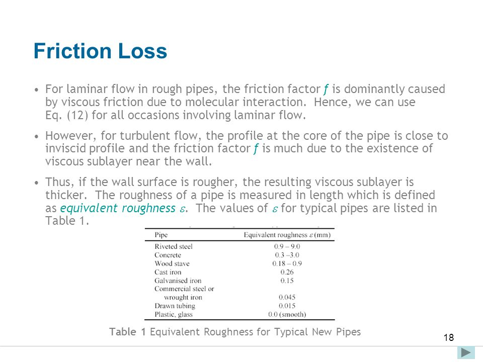 Faculty of Engineering and Technical Studies 18 Friction Loss For laminar flow in rough pipes, the friction factor f is dominantly caused by viscous f