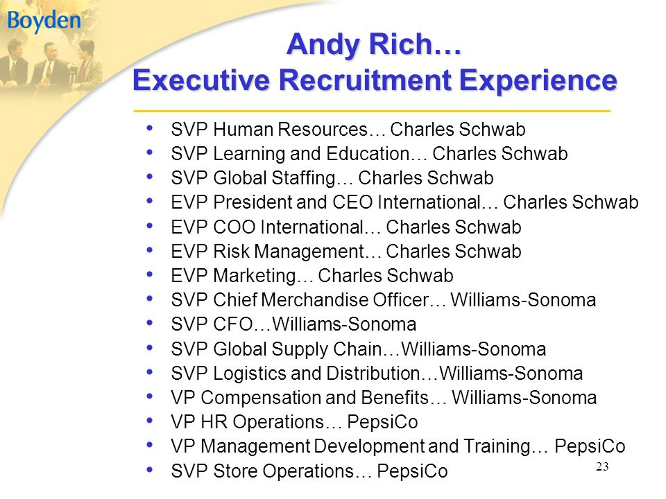 23 Andy Rich… Executive Recruitment Experience SVP Human Resources… Charles Schwab SVP Learning and Education… Charles Schwab SVP Global Staffing… Cha