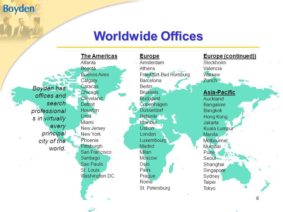 6 Worldwide Offices The Americas Atlanta Bogotá Buenos Aires Calgary Caracas Chicago Cleveland Detroit Houston Lima Miami New Jersey New York Phoenix