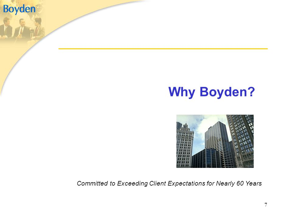 7 Why Boyden? Committed to Exceeding Client Expectations for Nearly 60 Years