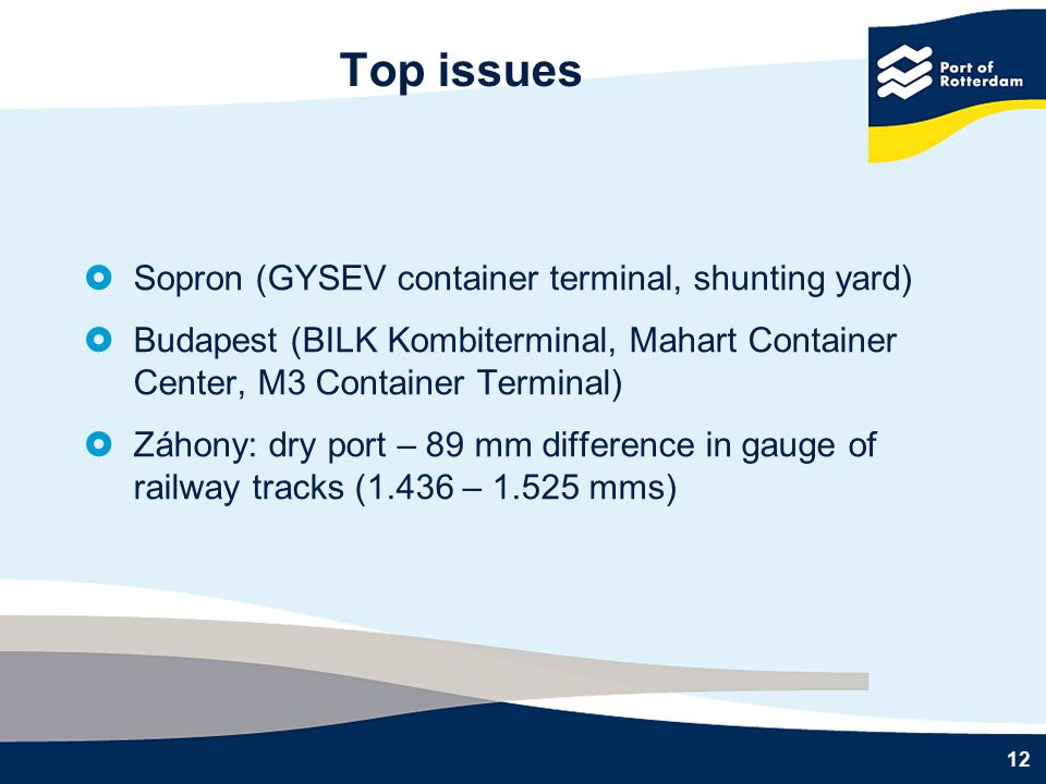 12 Top issues  Sopron (GYSEV container terminal, shunting yard)  Budapest (BILK Kombiterminal, Mahart Container Center, M3 Container Terminal)  Záhony: dry port – 89 mm difference in gauge of railway tracks (1.436 – 1.525 mms)