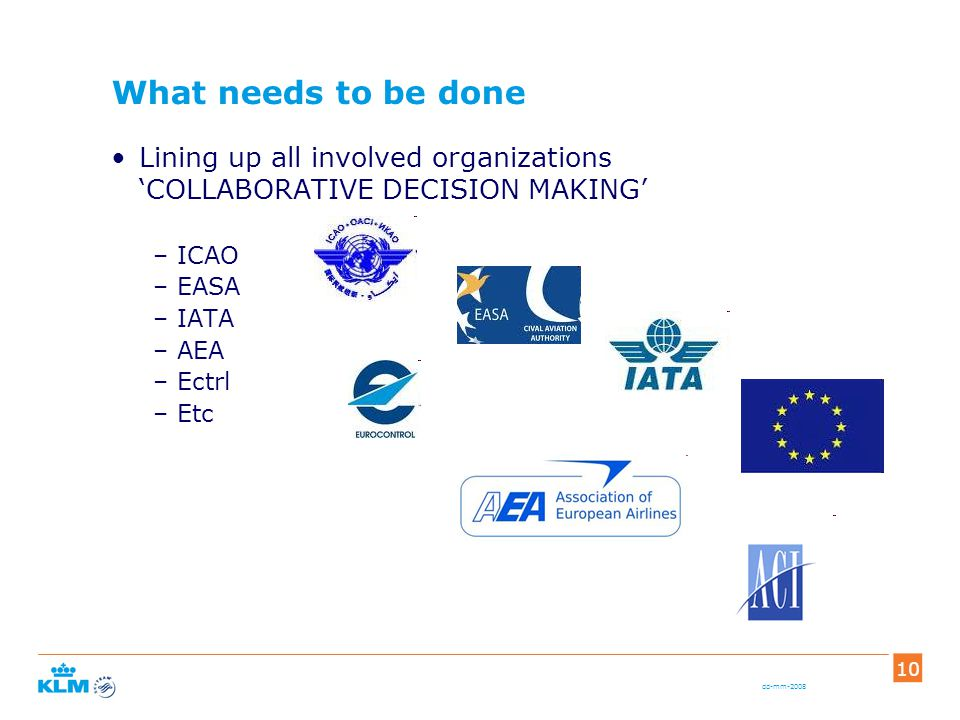 dd-mm-2008 10 What needs to be done Lining up all involved organizations 'COLLABORATIVE DECISION MAKING' –ICAO –EASA –IATA –AEA –Ectrl –Etc