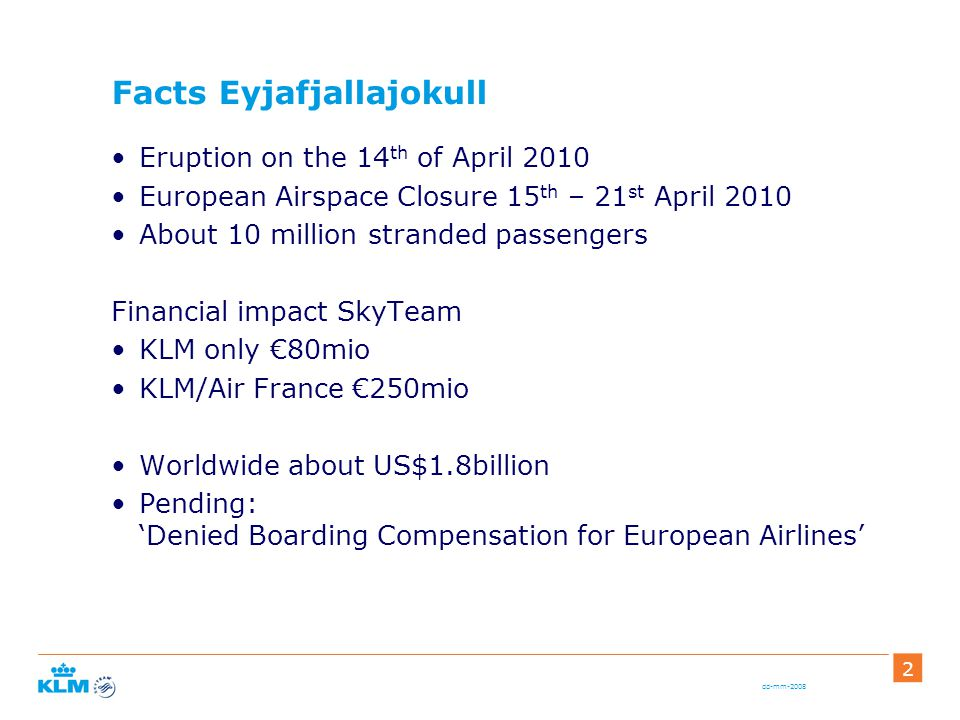 dd-mm-2008 2 Facts Eyjafjallajokull Eruption on the 14 th of April 2010 European Airspace Closure 15 th – 21 st April 2010 About 10 million stranded passengers Financial impact SkyTeam KLM only €80mio KLM/Air France €250mio Worldwide about US$1.8billion Pending: 'Denied Boarding Compensation for European Airlines'