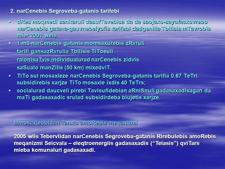 2. narCenebis Segroveba-gatanis tarifebi  dRes moqmedi sanitaruli dasufTavebisa da da saojaxo-sayofacxovrebo narCenebis gatana-gauvnebelyofis tarifeb