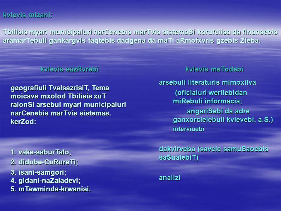 kvlevis mizani: Tbilisis myari municipaluri narCenebis marTvis sistemaSi korufciisa da finansebis aramarTebuli gankargvis faqtebis dadgena da maTi aRmofxvris gzebis Zieba.