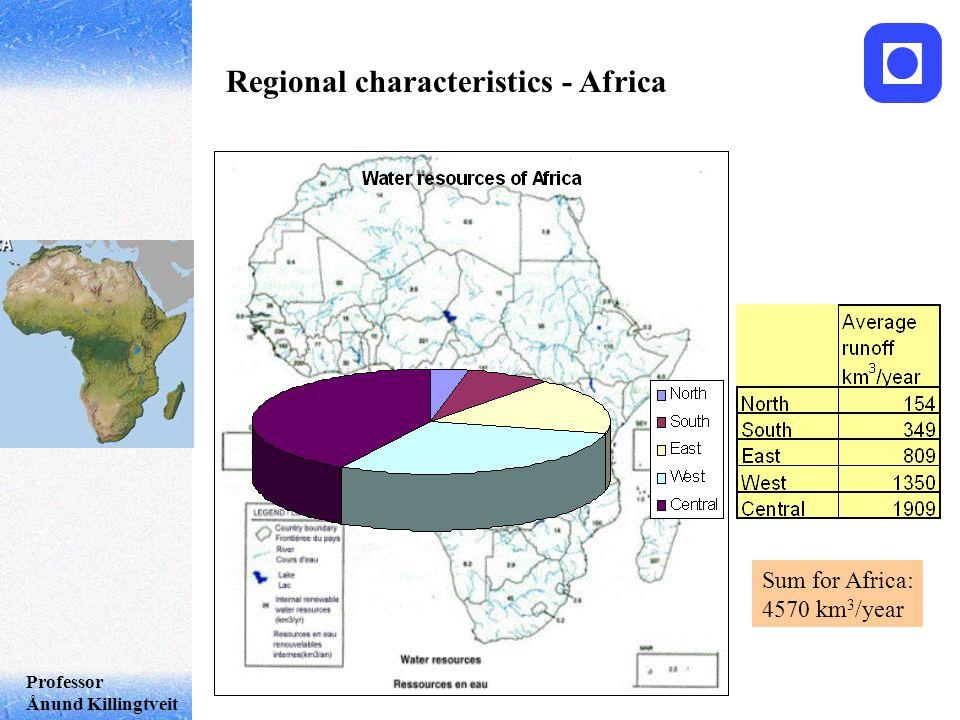 Professor Ånund Killingtveit Regional characteristics - Africa Sum for Africa: 4570 km 3 /year