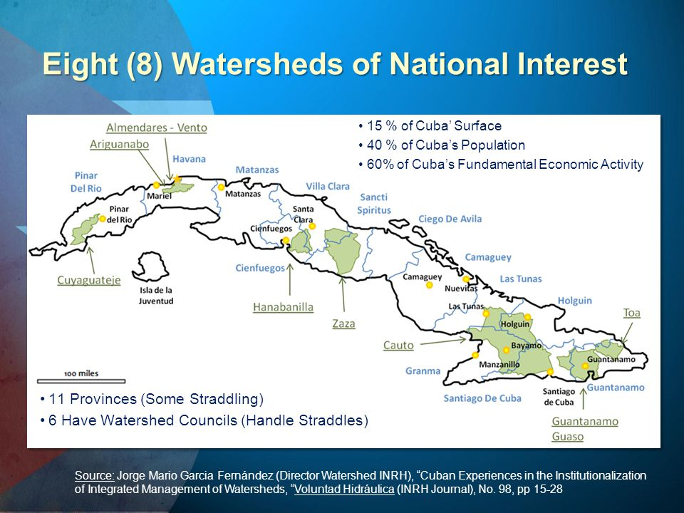"Eight (8) Watersheds of National Interest Source: Jorge Mario Garcia Fernández (Director Watershed INRH), ""Cuban Experiences in the Institutionalizati"