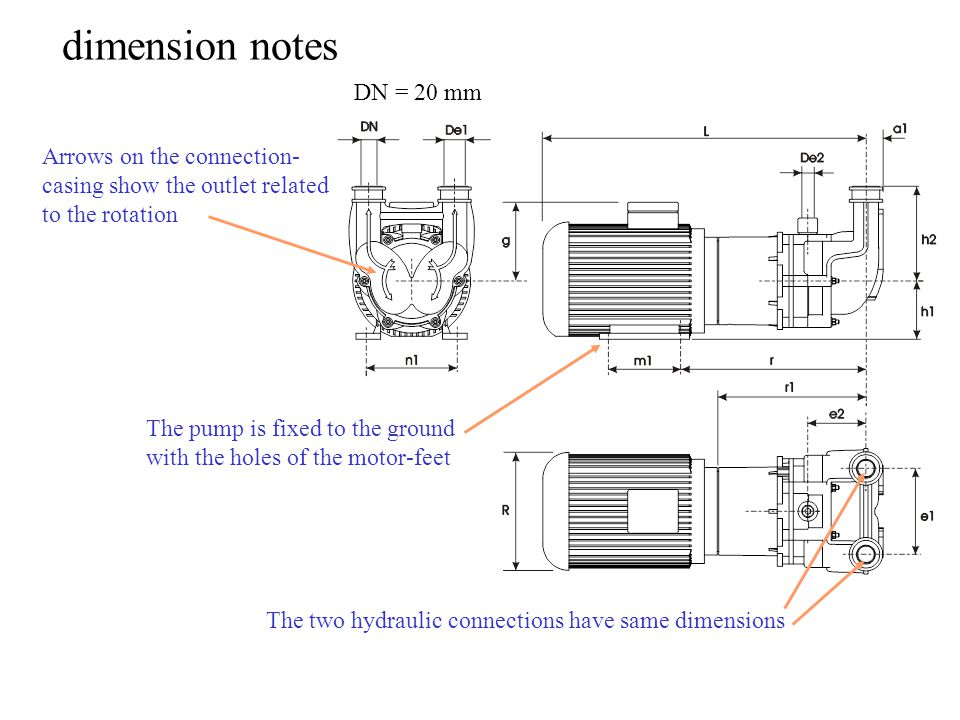 dimension notes Arrows on the connection- casing show the outlet related to the rotation The pump is fixed to the ground with the holes of the motor-feet The two hydraulic connections have same dimensions DN = 20 mm