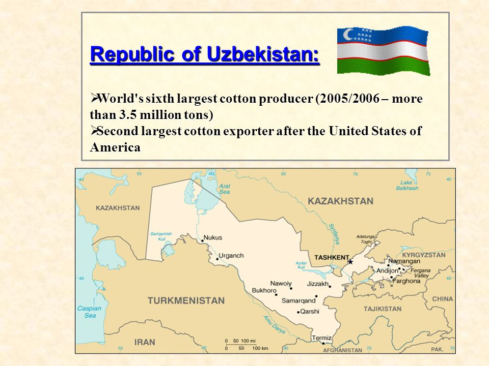 Republic of Uzbekistan:  World s sixth largest cotton producer (2005/2006 – more than 3.5 million tons)  Second largest cotton exporter after the United States of America