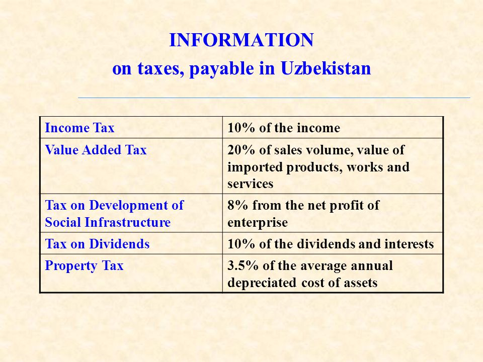 INFORMATION on taxes, payable in Uzbekistan Income Tax10% of the income Value Added Tax20% of sales volume, value of imported products, works and services Tax on Development of Social Infrastructure 8% from the net profit of enterprise Tax on Dividends10% of the dividends and interests Property Tax3.5% of the average annual depreciated cost of assets