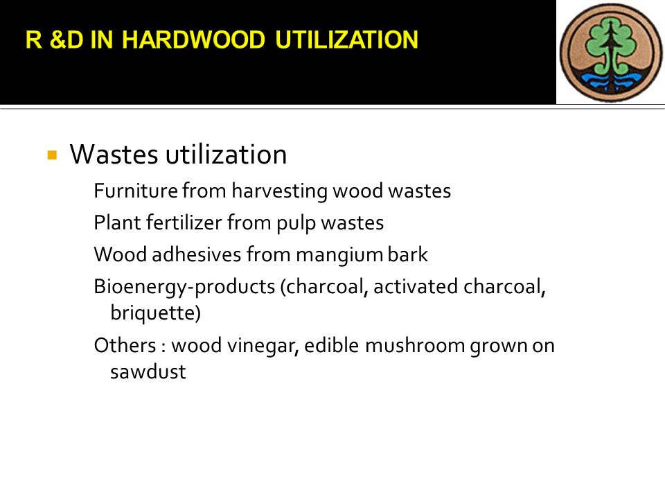  Wastes utilization Furniture from harvesting wood wastes Plant fertilizer from pulp wastes Wood adhesives from mangium bark Bioenergy-products (char