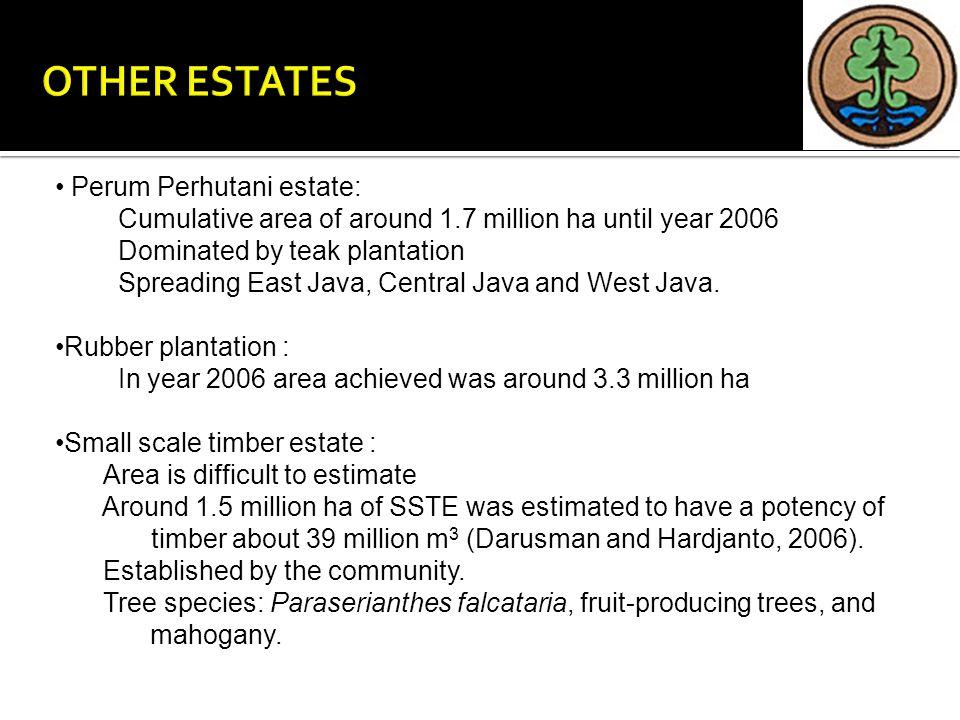 Perum Perhutani estate: Cumulative area of around 1.7 million ha until year 2006 Dominated by teak plantation Spreading East Java, Central Java and We