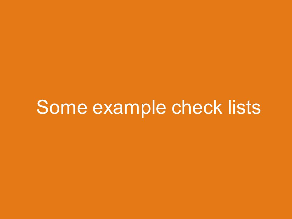 Some example check lists