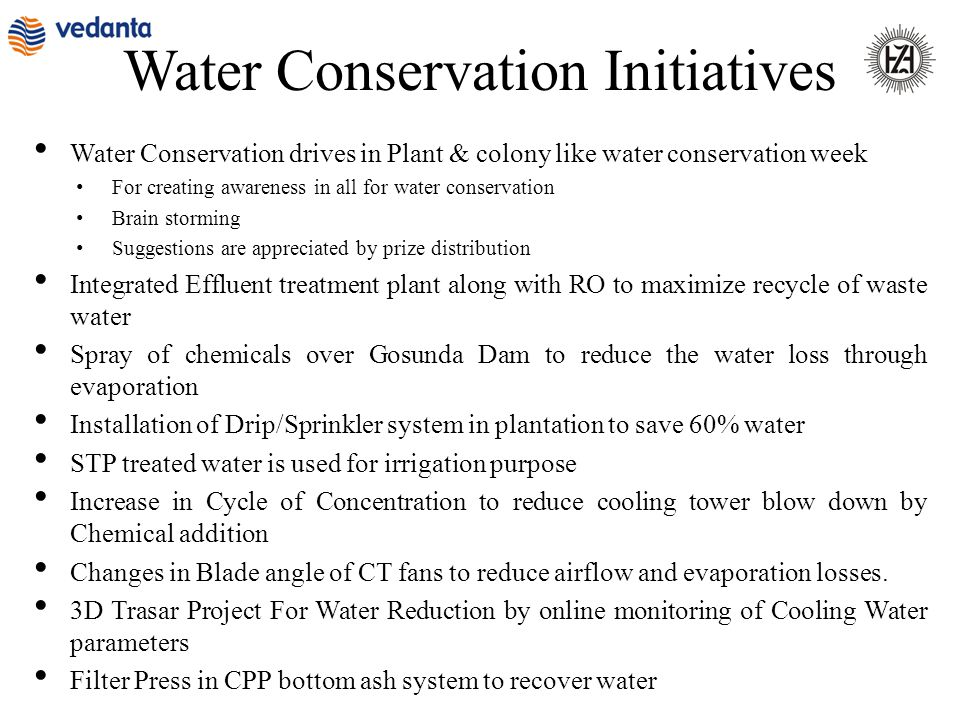 Water Conservation drives in Plant & colony like water conservation week For creating awareness in all for water conservation Brain storming Suggestio