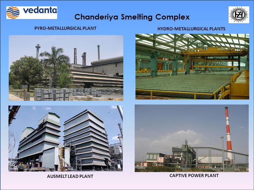 Chanderiya Smelting Complex PYRO-METALLURGICAL PLANT HYDRO-METALLURGICAL PLANTS AUSMELT LEAD PLANT CAPTIVE POWER PLANT