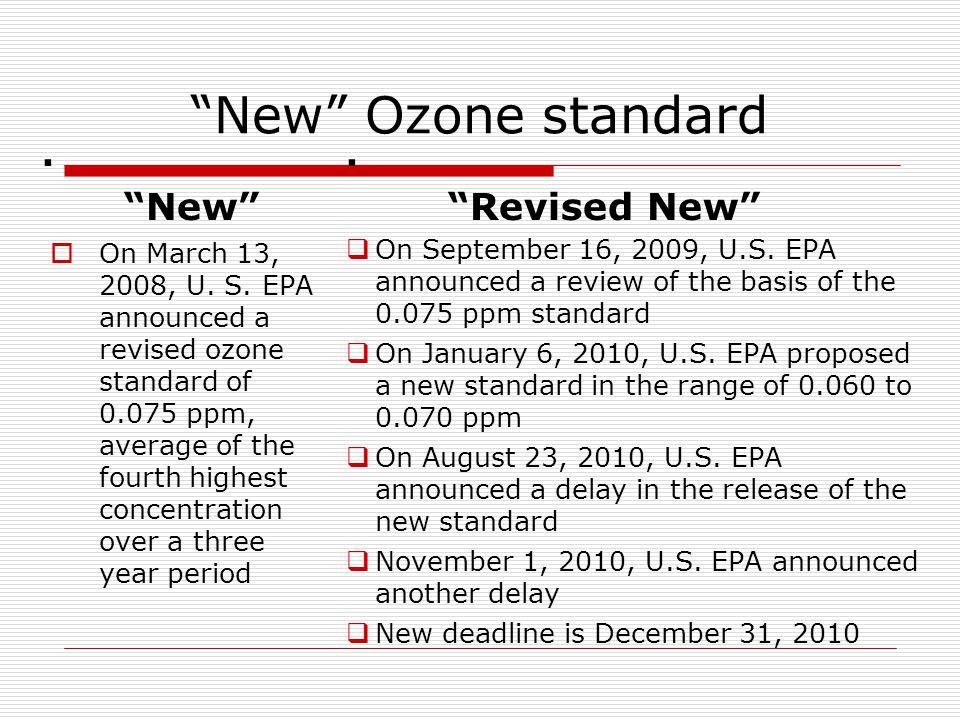 New Ozone standard. New  On March 13, 2008, U.