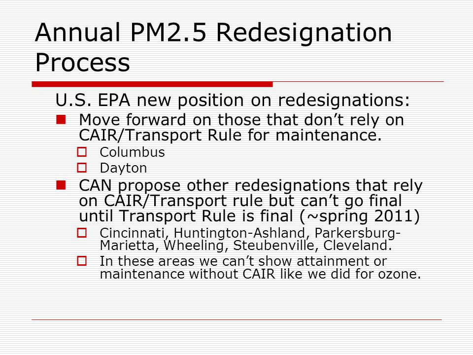 Annual PM2.5 Redesignation Process U.S.