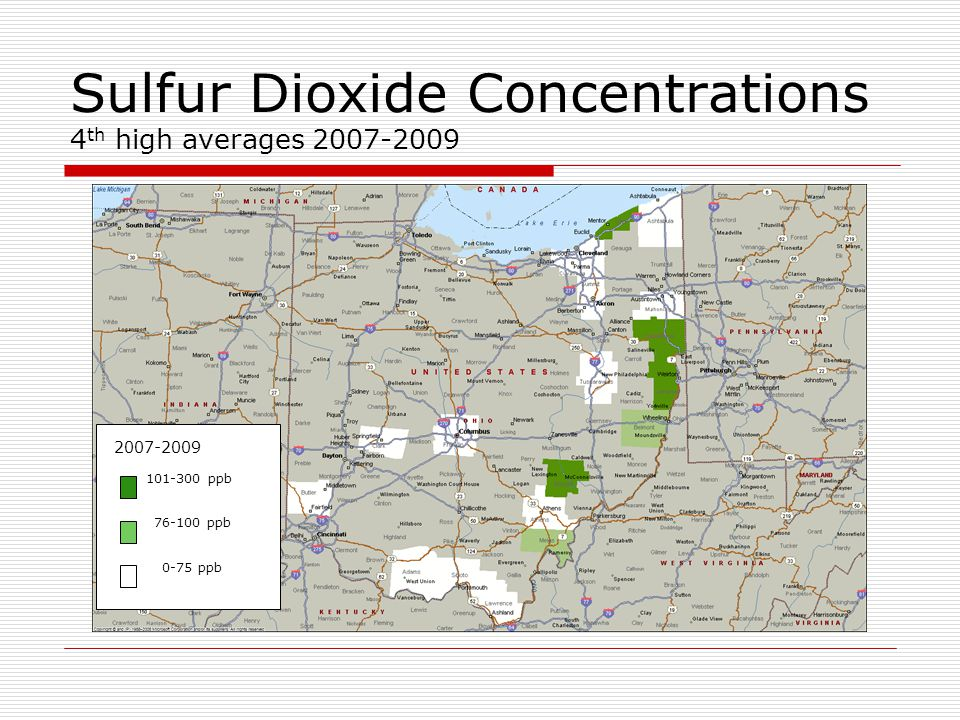 Sulfur Dioxide Concentrations 4 th high averages 2007-2009 2007-2009 101-300 ppb 76-100 ppb 0-75 ppb