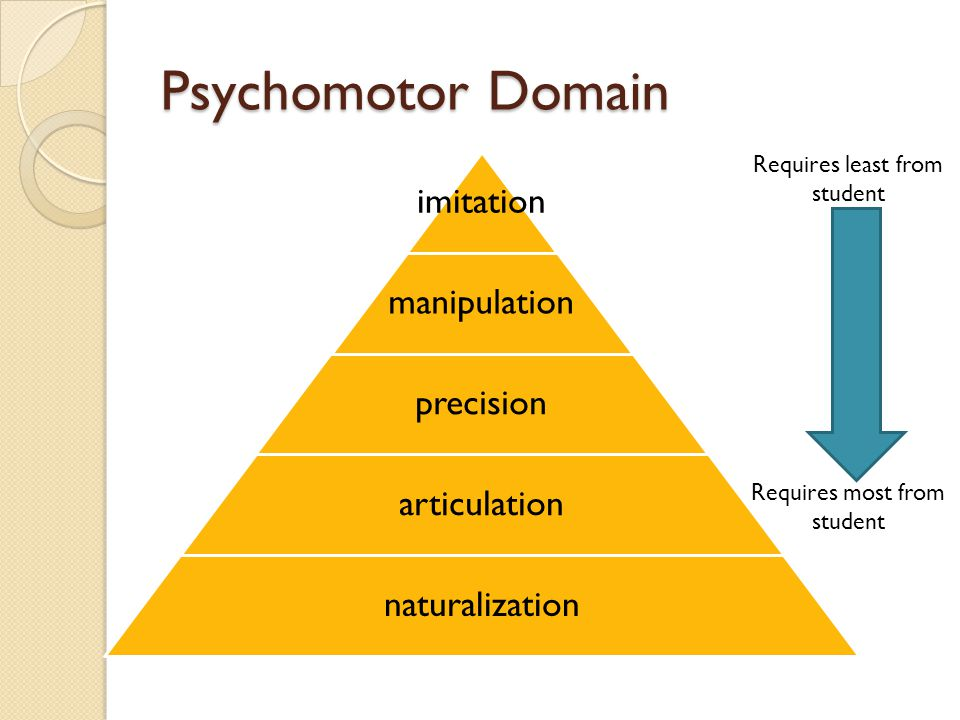 Psychomotor Domain imitation manipulation precision articulation naturalization Requires least from student Requires most from student