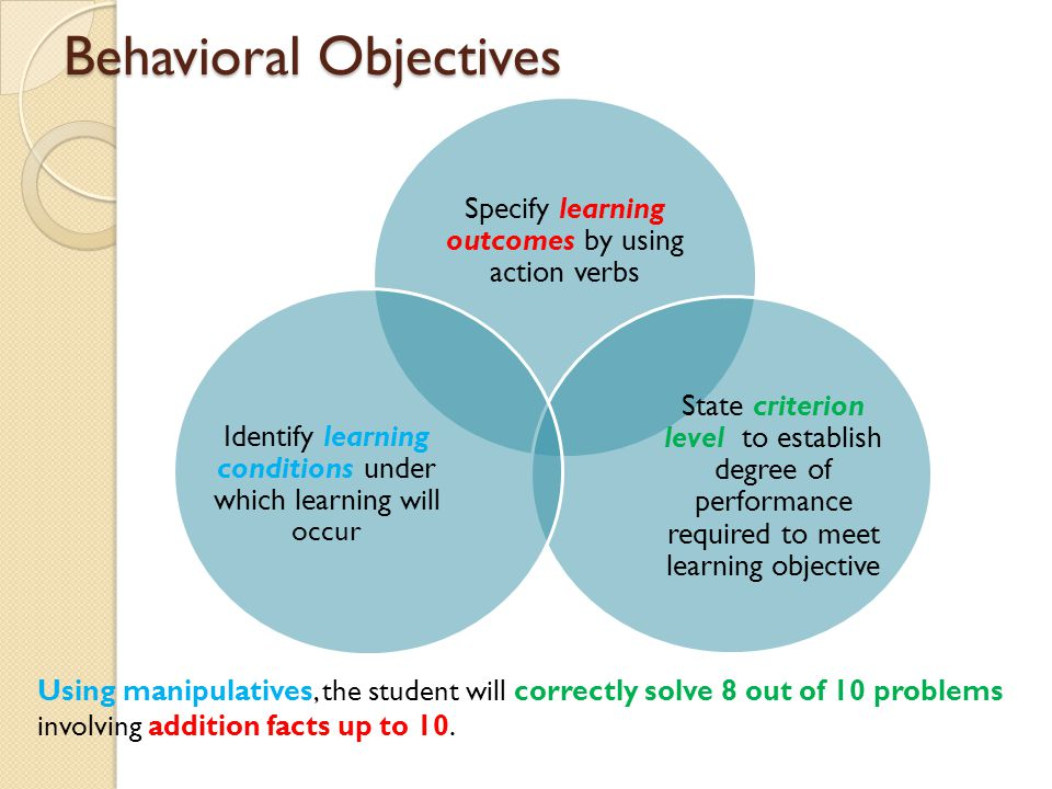 Behavioral Objectives Specify learning outcomes by using action verbs State criterion level to establish degree of performance required to meet learni