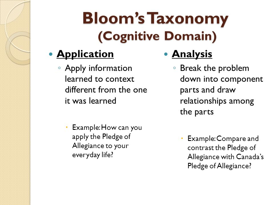 Bloom's Taxonomy (Cognitive Domain) Application ◦ Apply information learned to context different from the one it was learned  Example: How can you ap