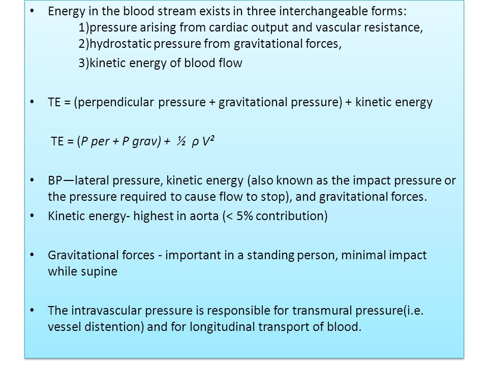 Transition from laminar to turbulent flow can be predicted by calculatingthe Reynold's number, which is the ratio of inertial forces to viscous forces R = diameter × velocity × density/viscosity (viscosity (ή) of blood is 0.004 Pa s, density (ρ) of blood is approximately 1050 kg/m3, velocity (V) of blood is in m/s, and the diameter of the tube is in m.