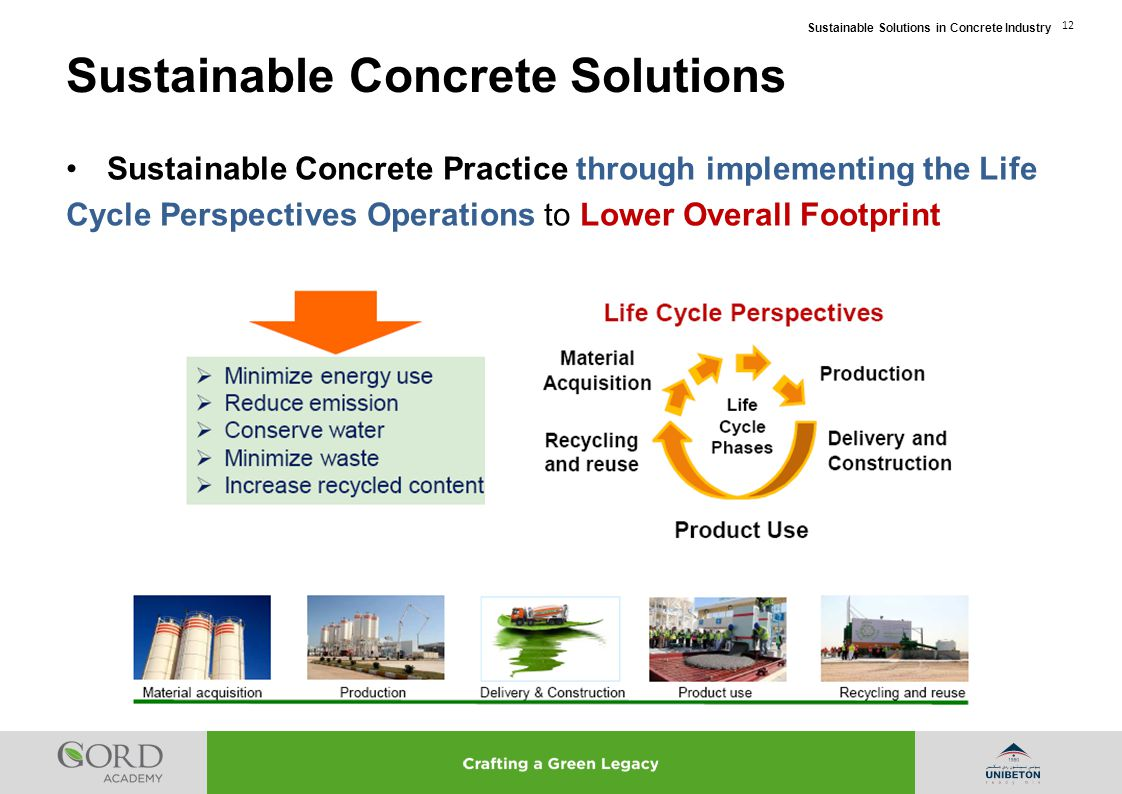 Sustainable Solutions in Concrete Industry 12 Sustainable Concrete Practice through implementing the Life Cycle Perspectives Operations to Lower Overa