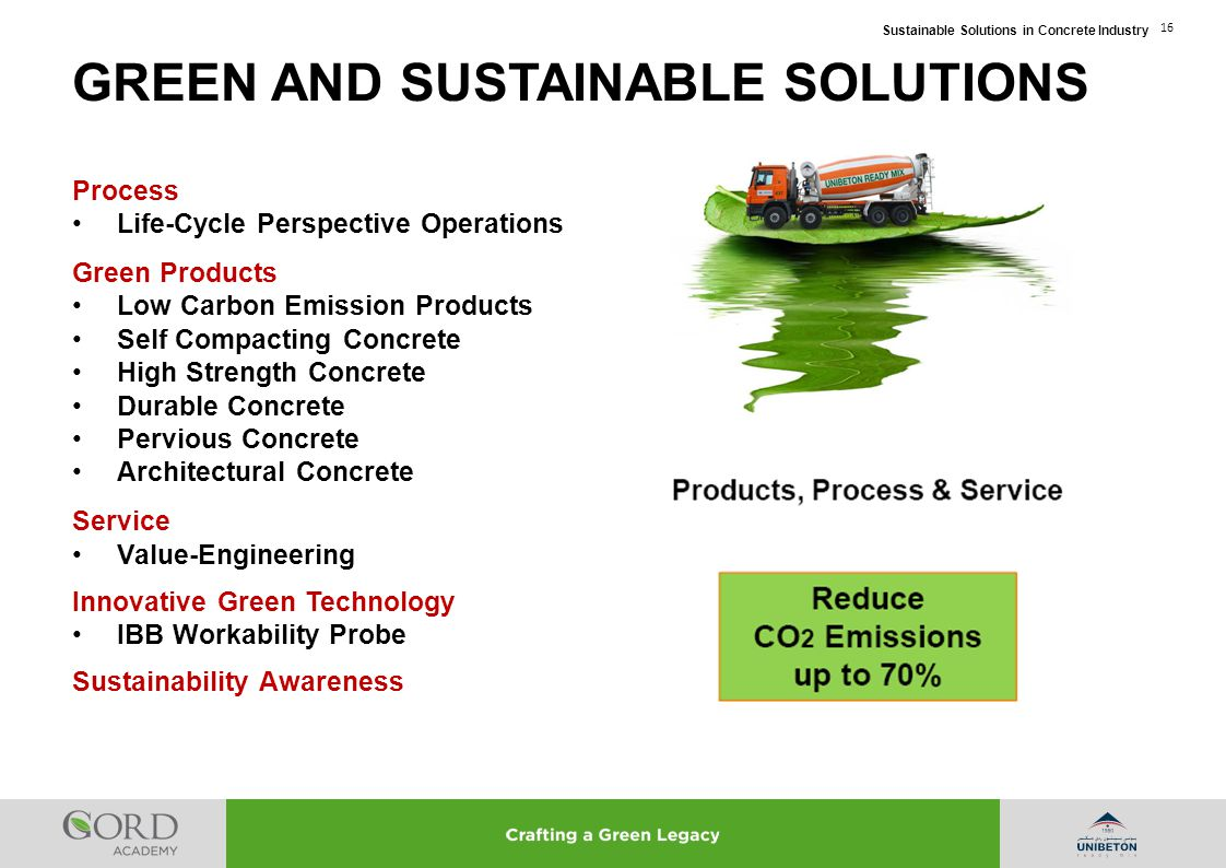 Sustainable Solutions in Concrete Industry 16 Process Life-Cycle Perspective Operations Green Products Low Carbon Emission Products Self Compacting Co