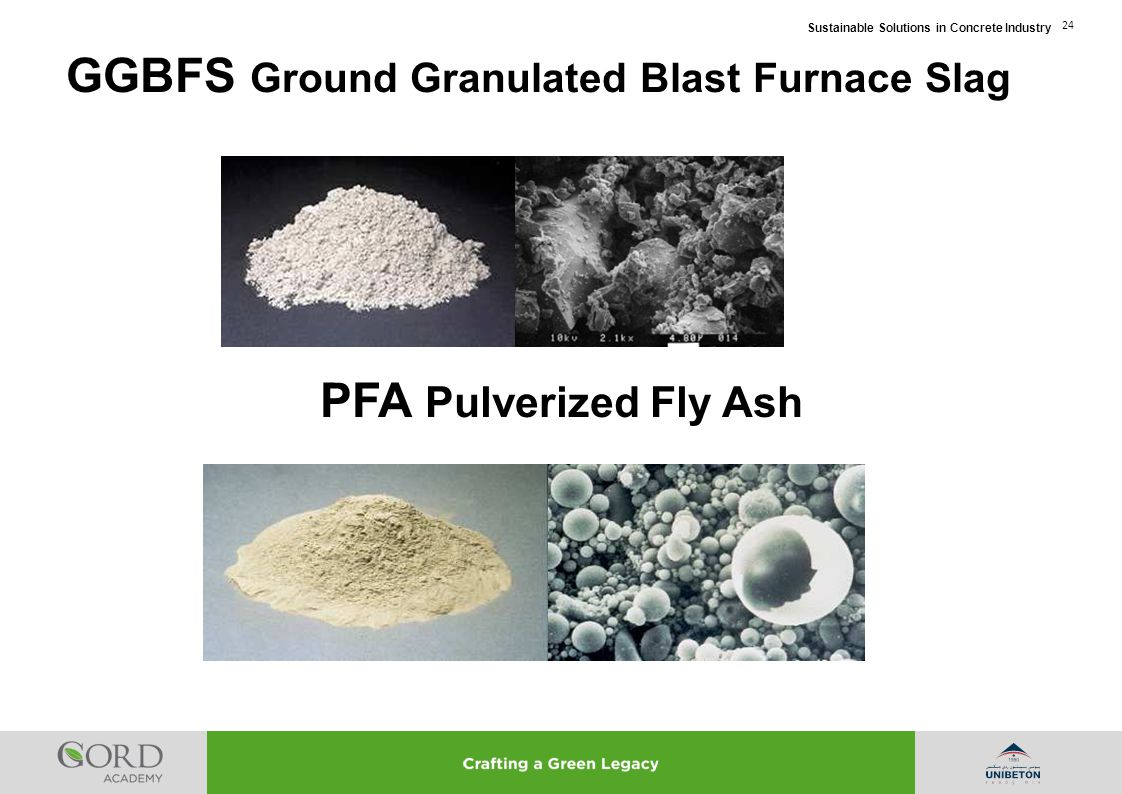 Sustainable Solutions in Concrete Industry 24 PFA Pulverized Fly Ash GGBFS Ground Granulated Blast Furnace Slag