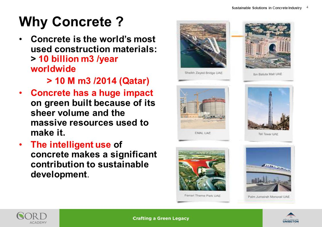 Sustainable Solutions in Concrete Industry 5 Concrete Basics for Sustainability 1.