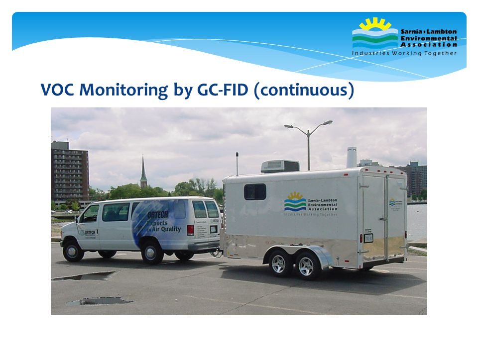 VOC Monitoring – SLEA Mobile Monitor In operation since 2001 Has been used for emergency situations (community monitoring) Used for industrial emergency analysis of tedlar bag samples Used for industrial turn-around monitoring Used for industrial special production runs Used for industrial CAMMs monitoring Used for industrial remediation projects