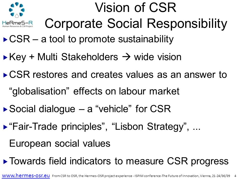 5 www.hermes-osr.eu HERMES – OSR  Project based on the CSR concepts  Definition of CSR  EU vision – Σ of country/culture models  US-UK vision – charity & donation model  UN vision – voluntary basis  Hermes project introduced a new term – OSR  Organisation Social Responsibility  Open mode: Open Social Responsibility  Triple helix as a bottom line: Social + Economic + Environmental  References for OSR – EU, ILO, UN From CSR to OSR, the Hermes-OSR project experience - ISPIM conference-The Future of Innovation, Vienna, 21-24/06/09
