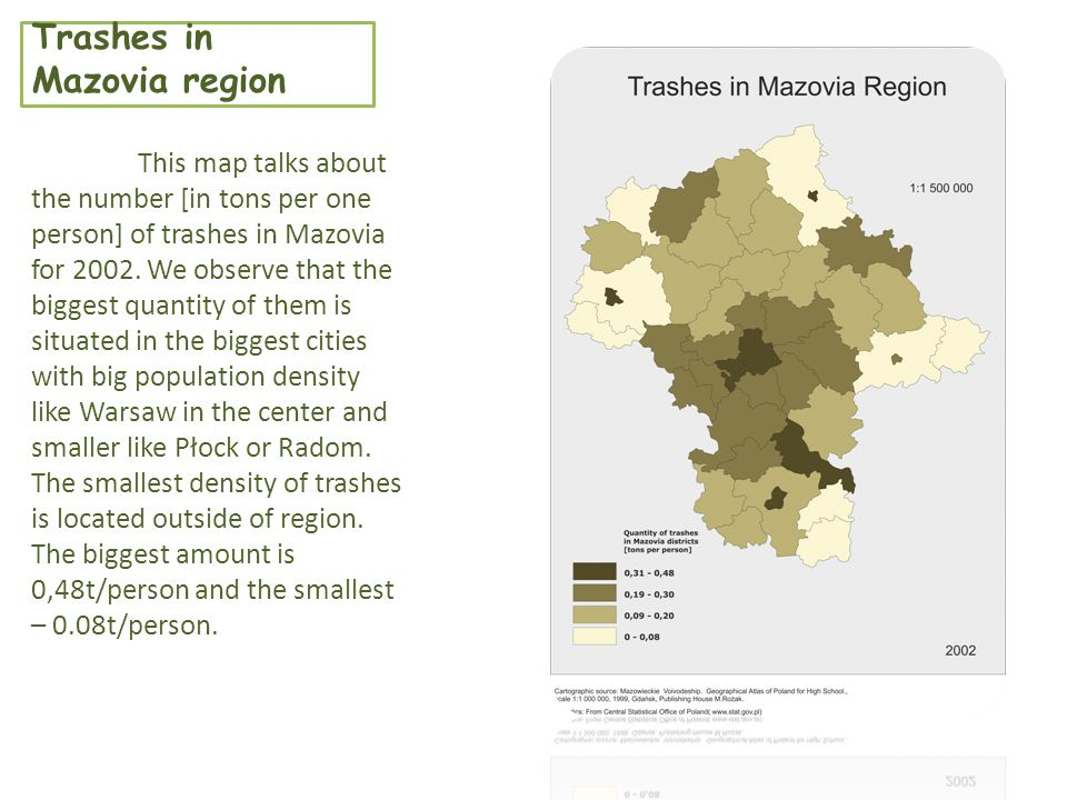 Trashes in Mazovia region This map talks about the number [in tons per one person] of trashes in Mazovia for 2002.