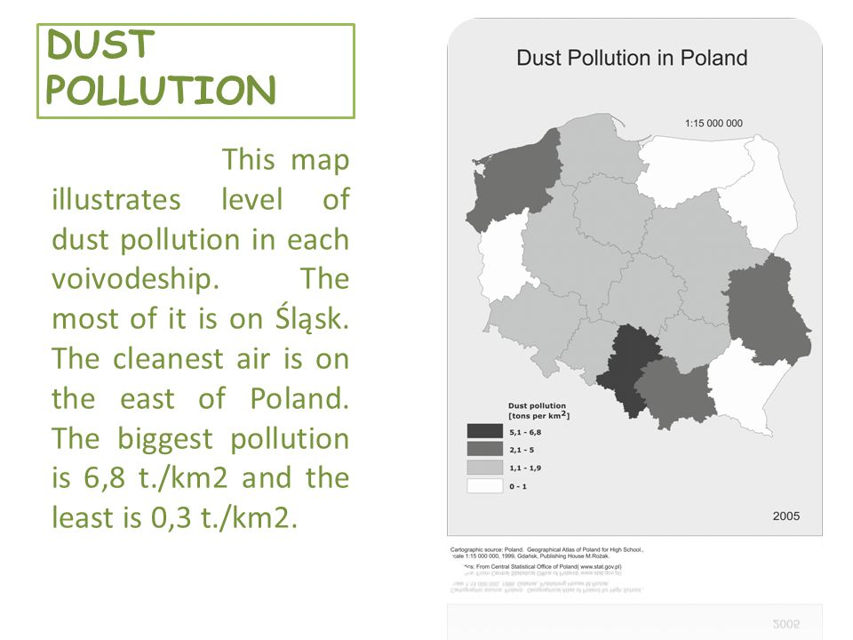 DUST POLLUTION This map illustrates level of dust pollution in each voivodeship.