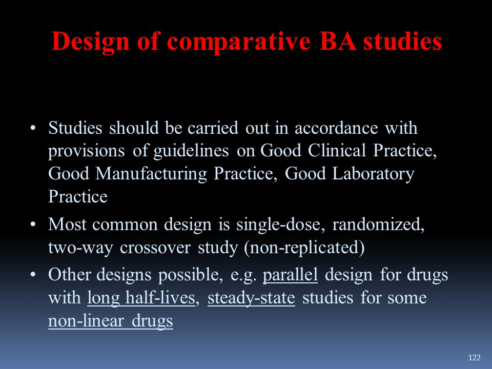 Design of comparative BA studies Studies should be carried out in accordance with provisions of guidelines on Good Clinical Practice, Good Manufacturi