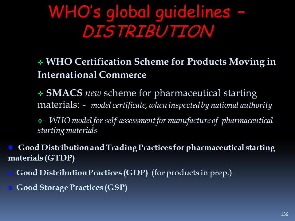WHO's global guidelines – DISTRIBUTION  WHO Certification Scheme for Products Moving in International Commerce  SMACS new scheme for pharmaceutical