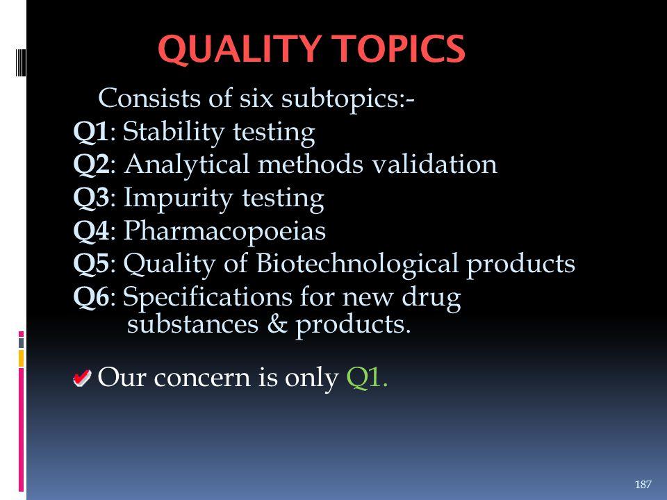 Consists of six subtopics:- Q1 : Stability testing Q2 : Analytical methods validation Q3 : Impurity testing Q4 : Pharmacopoeias Q5 : Quality of Biotec