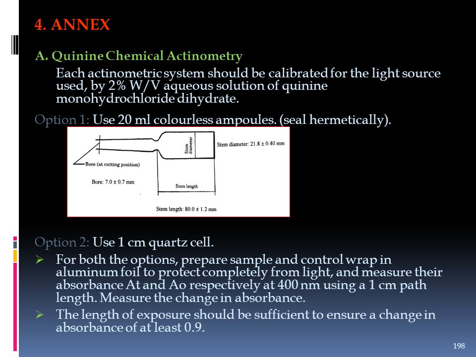 4. ANNEX A. Quinine Chemical Actinometry Each actinometric system should be calibrated for the light source used, by 2% W/V aqueous solution of quinin