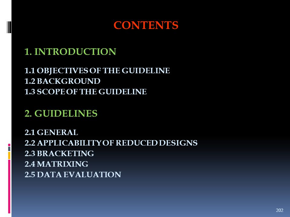 CONTENTS 1. INTRODUCTION 1.1 OBJECTIVES OF THE GUIDELINE 1.2 BACKGROUND 1.3 SCOPE OF THE GUIDELINE 2. GUIDELINES 2.1 GENERAL 2.2 APPLICABILITY OF REDU