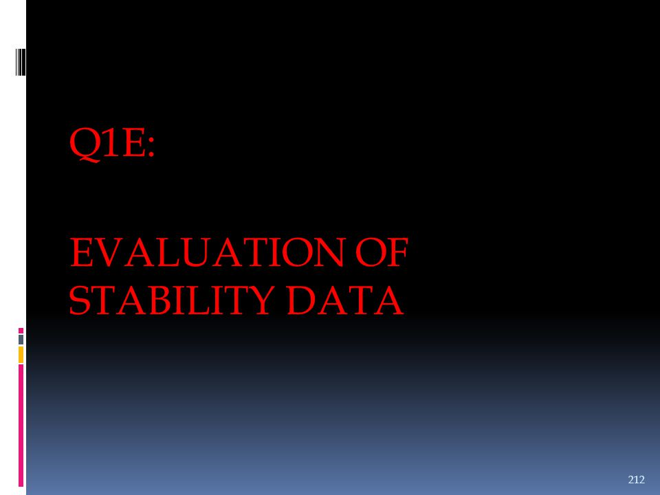 Q1E: EVALUATION OF STABILITY DATA 212