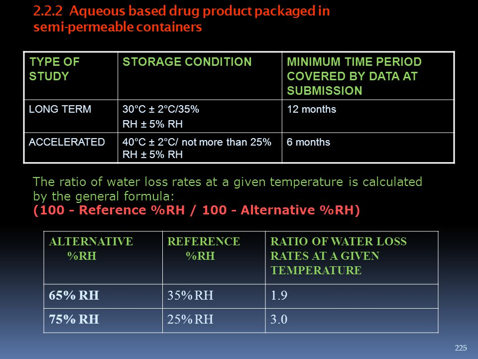 2.2.2 Aqueous based drug product packaged in semi-permeable containers TYPE OF STUDY STORAGE CONDITIONMINIMUM TIME PERIOD COVERED BY DATA AT SUBMISSIO