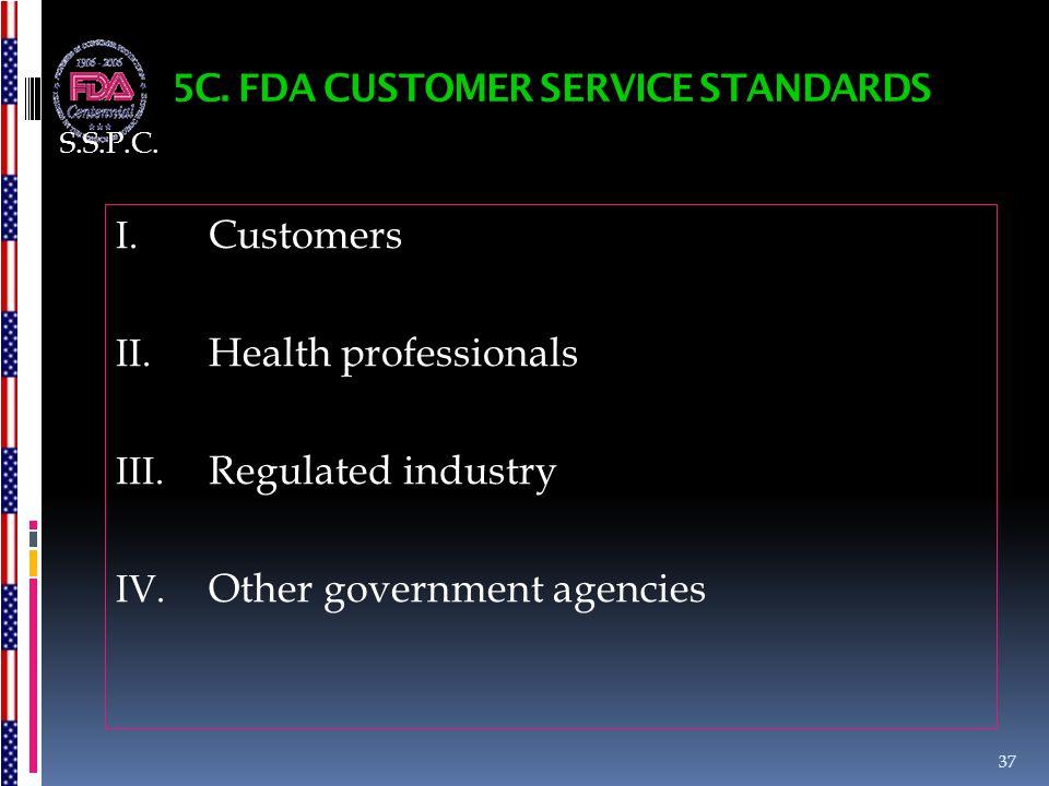 5C. FDA CUSTOMER SERVICE STANDARDS I. Customers II. Health professionals III. Regulated industry IV. Other government agencies 37 S.S.P.C.