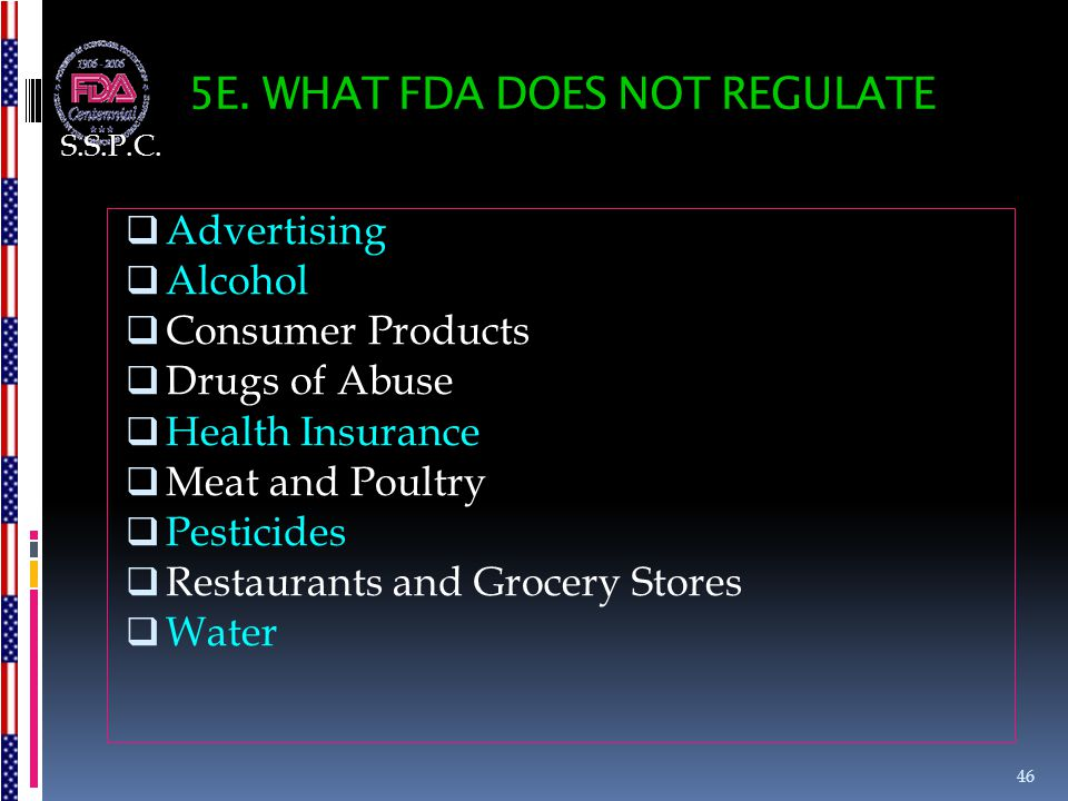 5E. WHAT FDA DOES NOT REGULATE  Advertising  Alcohol  Consumer Products  Drugs of Abuse  Health Insurance  Meat and Poultry  Pesticides  Resta