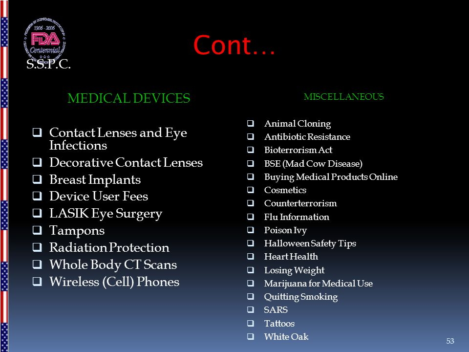 Cont… MEDICAL DEVICES  Contact Lenses and Eye Infections  Decorative Contact Lenses  Breast Implants  Device User Fees  LASIK Eye Surgery  Tampo