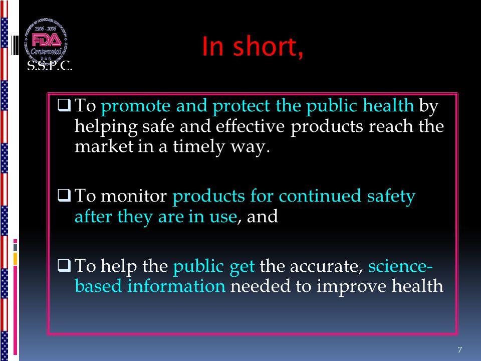 4. FDA Components CBERCDRHCDERCFSANCVMNCTROCORA COSMETICS 8 S.S.P.C.