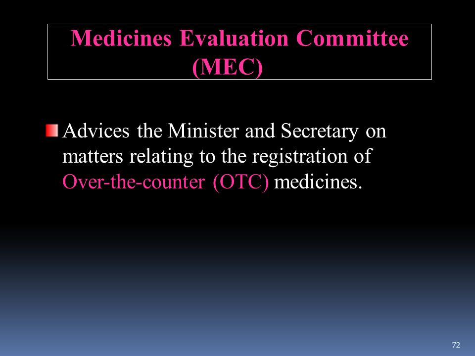 Medicines Evaluation Committee (MEC) Advices the Minister and Secretary on matters relating to the registration of Over-the-counter (OTC) medicines. 7
