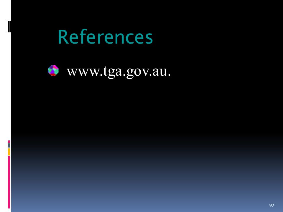 References 92 www.tga.gov.au.