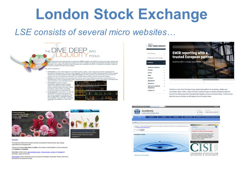LSE consists of several micro websites…