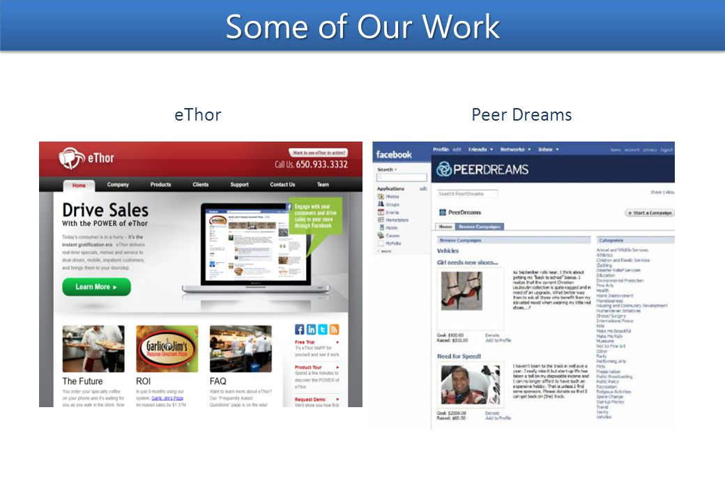 Peer DreamseThor Some of Our Work