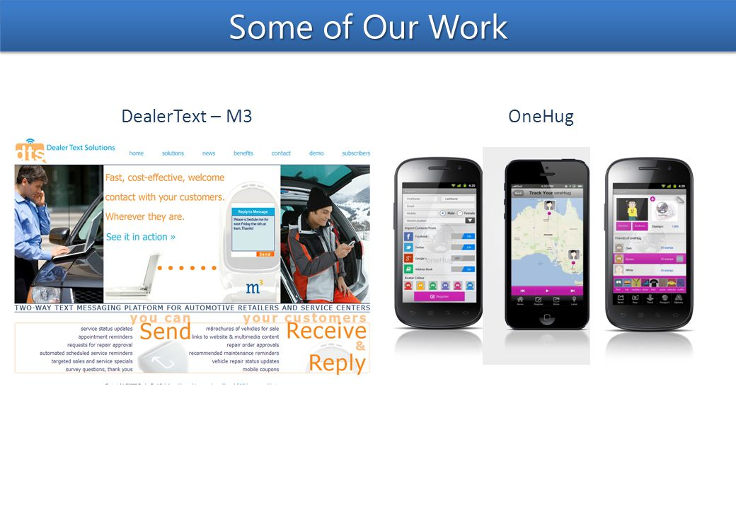 DealerText – M3OneHug Some of Our Work